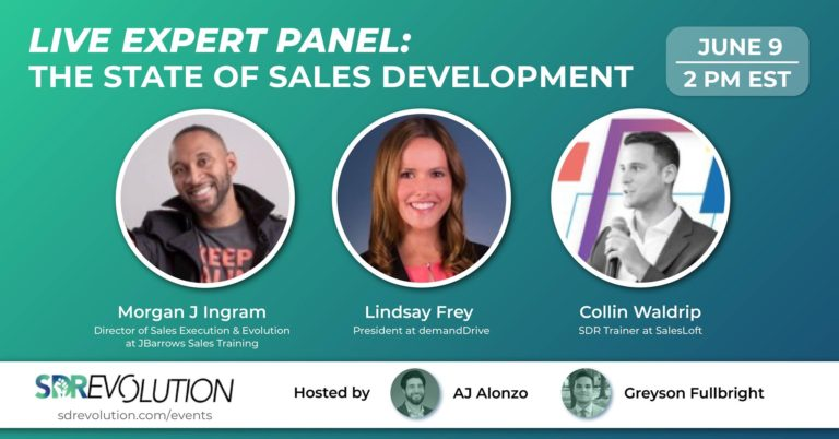 2020 Live Expert Panel with Morgan J Ingram, Collin Waldrip from SalesLoft, and Lindsay Frey from demandDrive