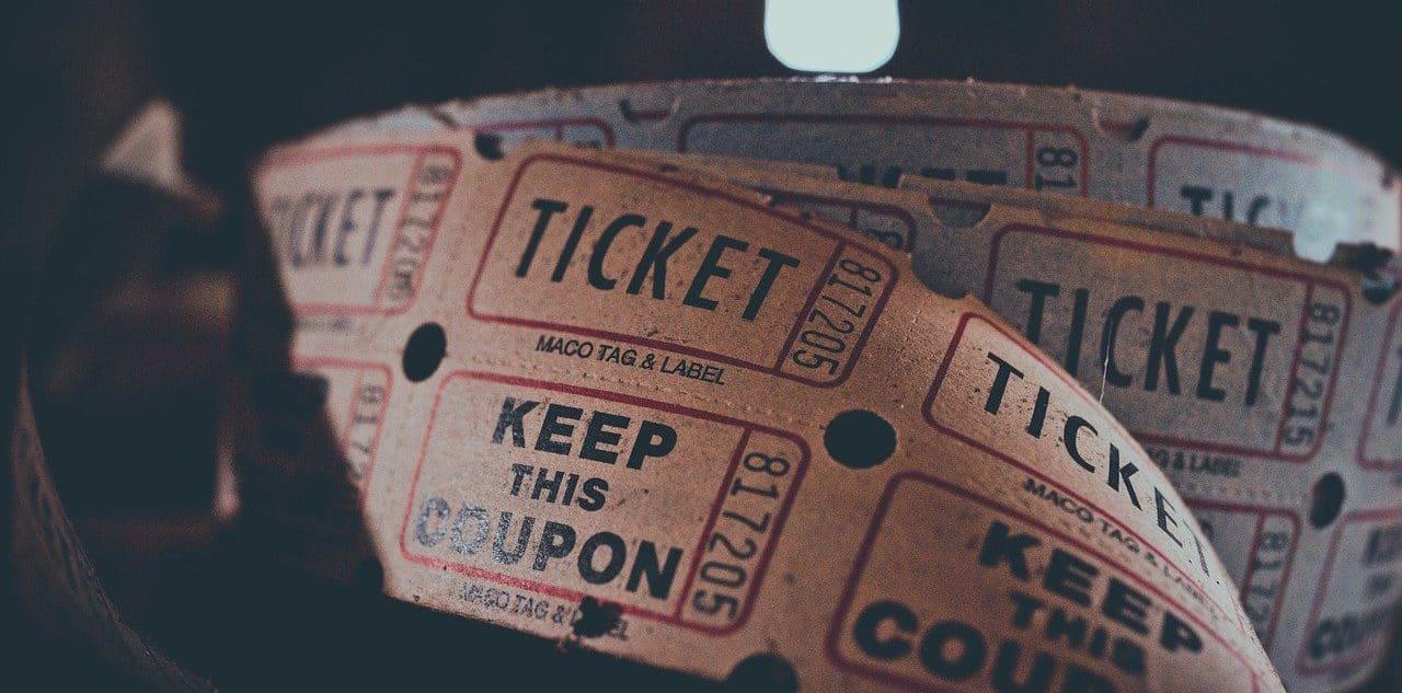 A roll of raffle tickets