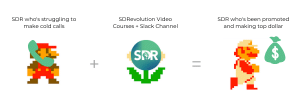 mario meme template showing example of how an SDR can show value instead of just show off a product